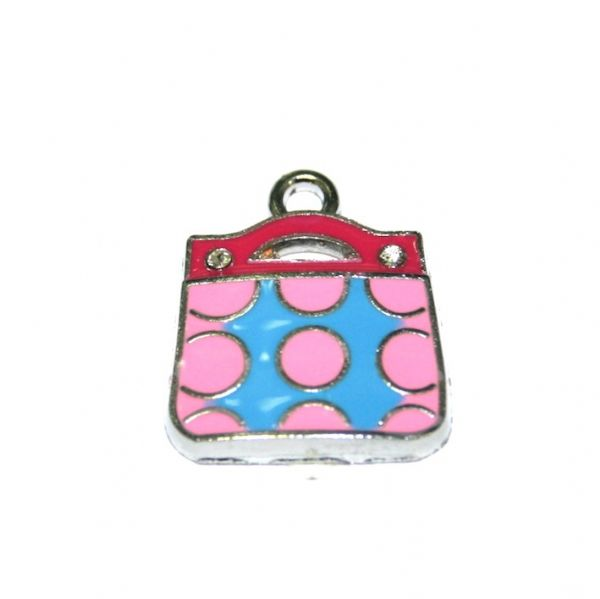 1 x 20*17mm rhodium plated long string pink handbag enamel charm - SD03 - CHE1015